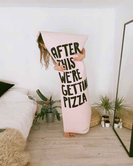 woman with pink and black after this we re getting pizza printer textile